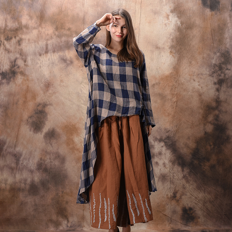 Johnature Spring New Large Size Cotton Linen T shirt Women Round Collar Irregular Plaid Long Sleeve