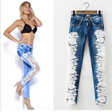 2016 Fashion Lace Women Jeans Mujer Sexy Hollow Out Flower Hook Tight Feet Pencil Pant Skinny