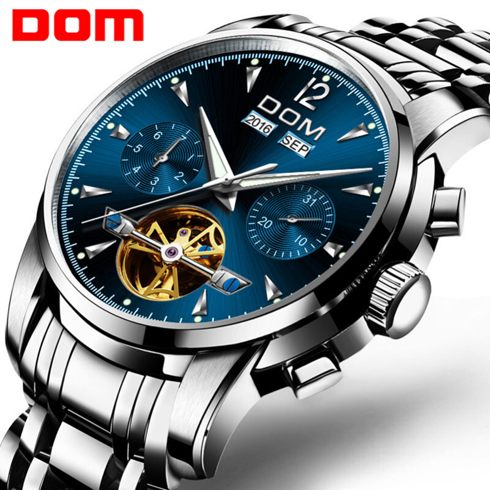 DOM Men's Mechanical Watches Luxury Fashion Brand Water Resistant Automatic Wrist Watch Men Business Tourbillon Watch M-75D-2MW