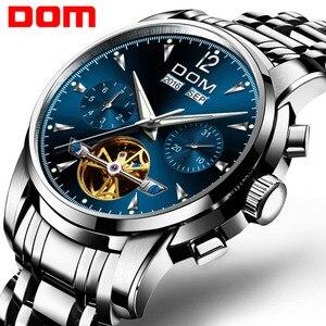 Image 1 - Dom Heren Mechanische Horloges Luxe Mode Merk Waterbestendig Automatische Polshorloge Mannen Business Tourbillon Horloge M 75D 2MW