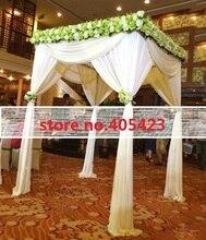 white color 1.8*2.4m wedding decoration custom-made color square canopy / chuppah / arbor drape with swag fabric drape
