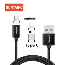Suntaiho USB C Magnetic Cable for oneplus Xiaomi Mi 9 Charge iOS 13 For iPhone 8 Data magnetic cable for samsung Galaxy S10 plus