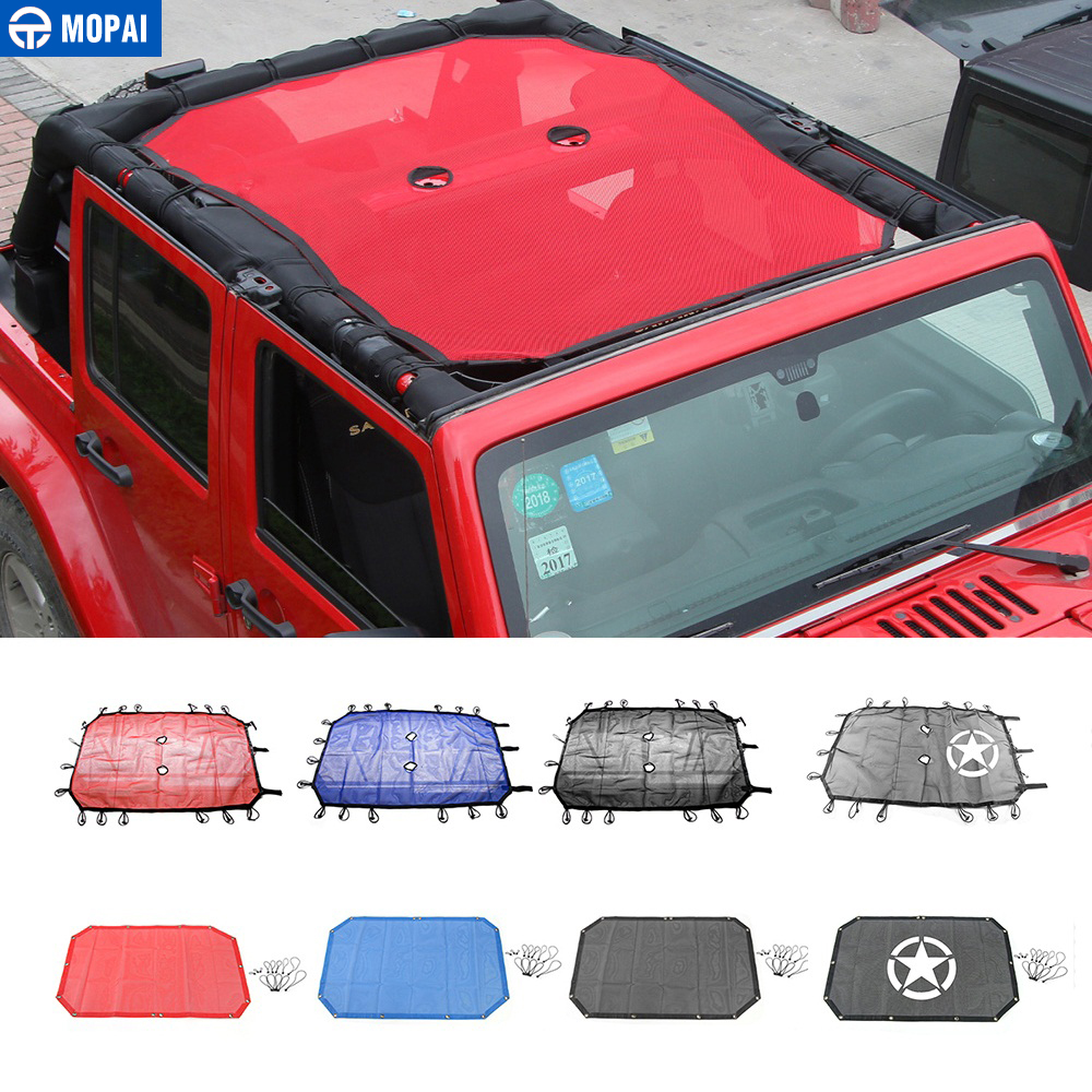 MOPAI 2/4 Doors Car Roof Mesh Bikini Top Sunshade Cover UV Sun Shade Mesh Protect for Jeep Wrangler JK 2007-2017 Car Styling(China)