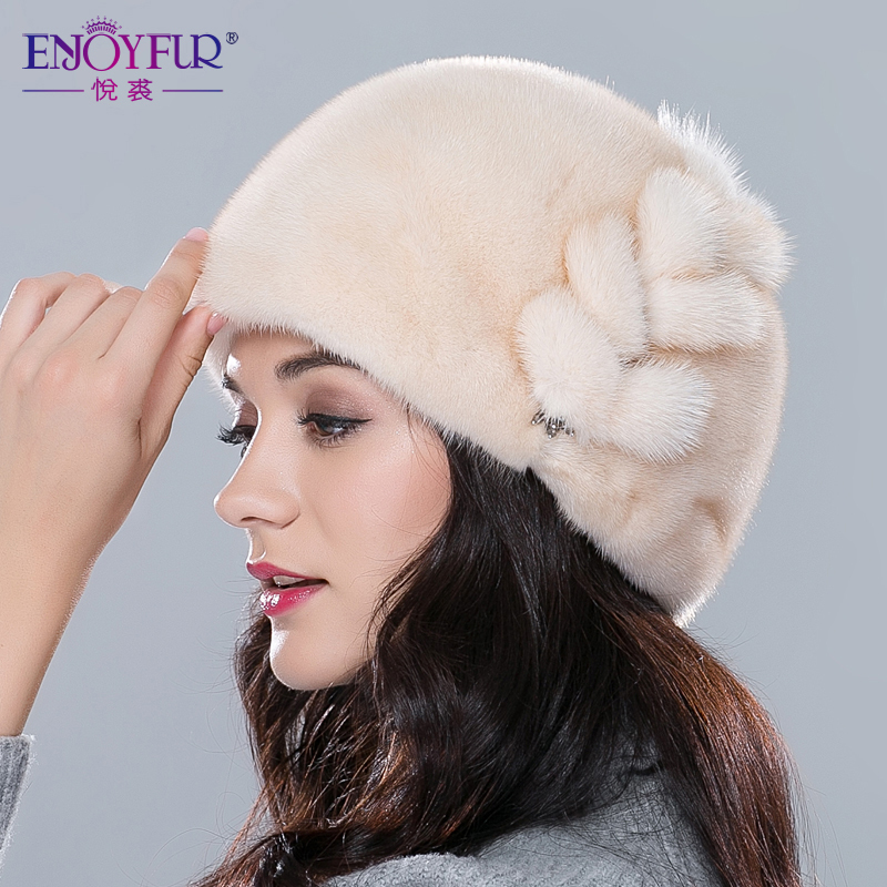 768a4307312 Women fur hats for winter real mink fur hat floral type adjustable skullies  beanies fashion sale female ear protector caps-in Skullies   Beanies from  ...