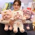 30 cm/40 cm/50 cm kawaii cruz-vestir piggy brinquedo de pelúcia macio dos desenhos animados animal gato/urso/cão recheado boneca meninas presentes do dia dos namorados