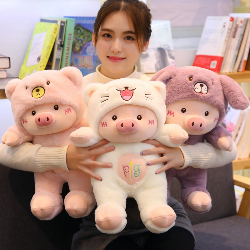 30cm/40cm/50cm Kawaii Cross-dressing Piggy Plush Toy Soft Cartoon Animal Cat/Bear/Dog Stuffed Doll Girls Valentine's Day Gifts