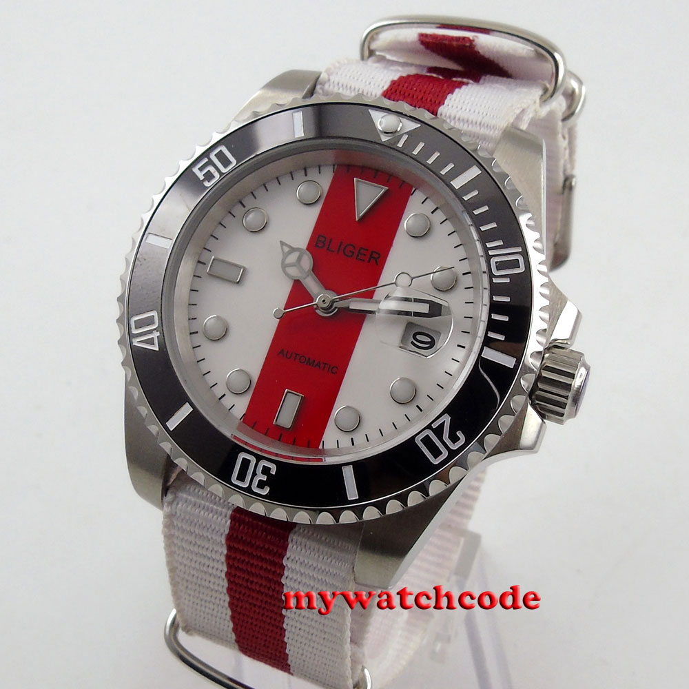 40mm bliger red & white dial date sapphire automatic movement mens watch 113B 40mm parnis white dial vintage automatic movement mens watch p25