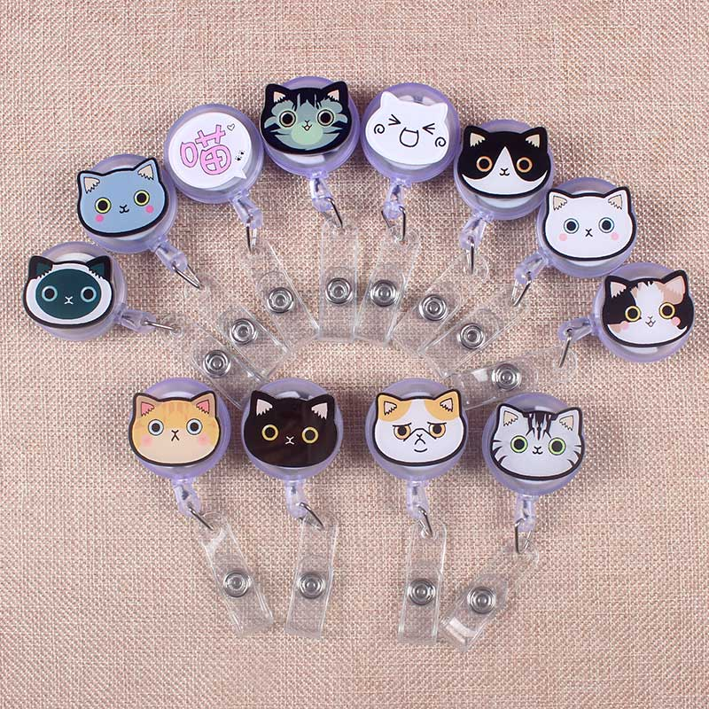 Cute Colors Cat Retractable Creative Gray Cat Badge Reel Student Nurse Exhibition Enfermera Name Card Chest Girl Boy Card Holder