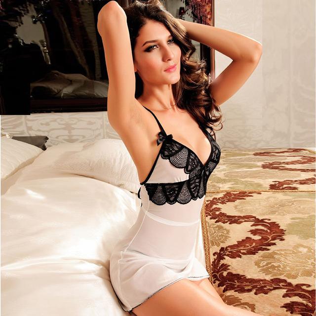 Sexy Sleepwear Erotic Lingerie Hot Pleasure Enchanting Bliss Lace Spaghetti straps Badydoll Women Nightie Sexy Langerie
