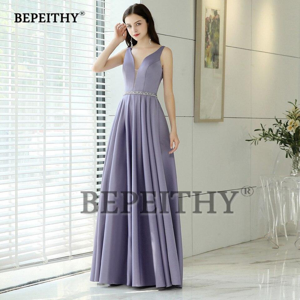 simple but elegant v neck long evening dress party elegant beads belt  vestido de festa prom dresses longo 2020 new