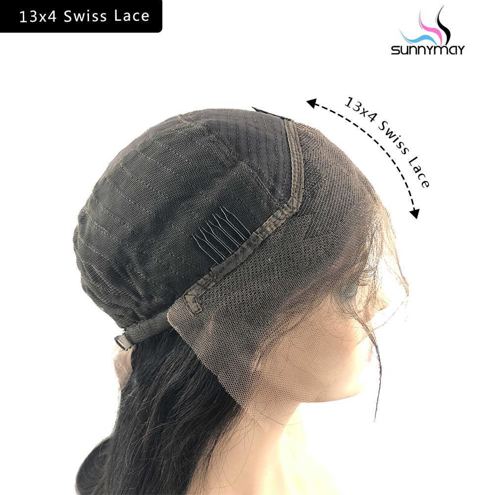 Sunnymean 13x4 Короткие парики с кружевным фронтом, Детские волосы, волнистые бразильские парики Remy, бесклеевая кружевная передняя часть, человеческие волосы, парики, предварительно сорванные