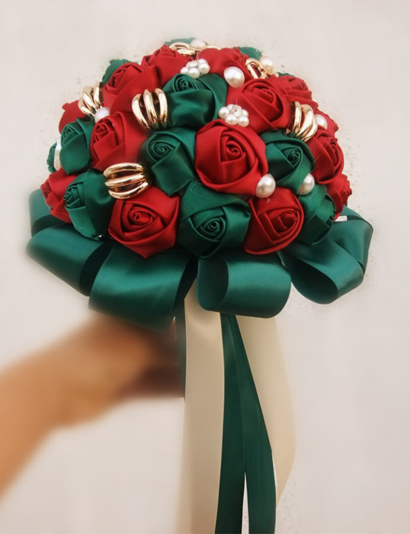 Hand Made Red and Emerald Green Bride Bridal Wedding Bouquet ...