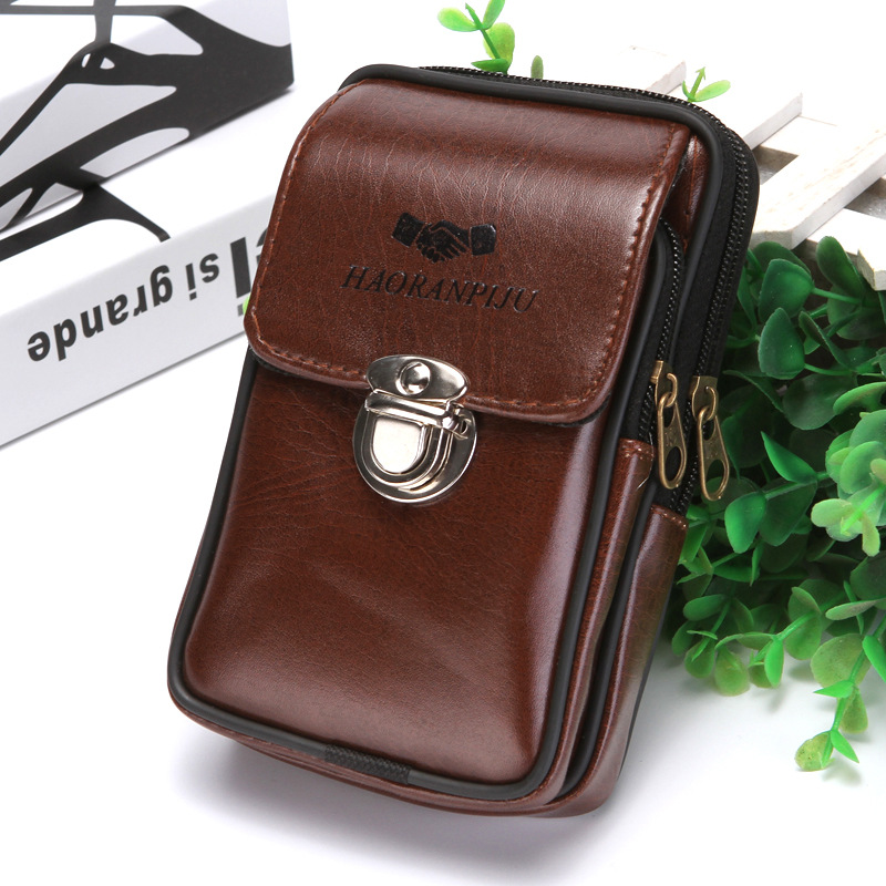 Bycobecy 2020 PU Leather Waterproof Cigarettes Packs On The Belt Multi-function Outdoor Purse Phone Coin Key Small Men Waist Bag
