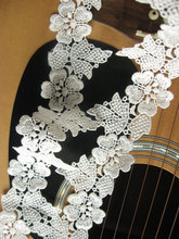 white bridal lace trim, wedding dress trim lace veil, retro embroidered floral lace fabric for bridal gown,