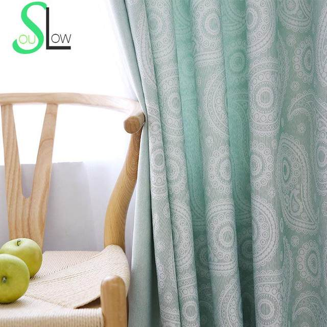 Slow Soul Yellow Brown Light Green Leaves New Curtains Cotton Jacquard Cloth Curtain For Living Room Kitchen Bedroom Roman