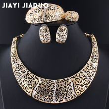 jiayijiaduo Women's Jewelry Sets Gold Color African Wedding jewellry Necklace earrings rose style charm clothing accessories