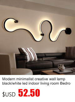Modern Minimalist Creative Wall Lamp Black/white Led Indoor Living Room  Bedroom Bedside Wall Lights AC96 265V Sconce Lampe Deco
