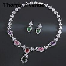 Купить с кэшбэком New Luxury Fashion 6 Colors Flower Leave AAA CZ Stainless Steel Boho Choker Necklace Set Bridal Wedding Jewellery Sets For Women