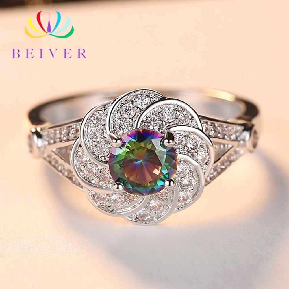 Beiver 2019 New Arrival White Gold Color Rainbow Round Zircon Promise Wedding Flower Rings for Women Party Jewelry Ladies Gifts