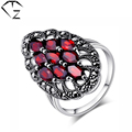 GZ Vintage 100% S925 Solid Thai Silver Red Stone Garnet Ring New Fine Jewelry Pure 925 Sterling Silver Rings for Women LR22
