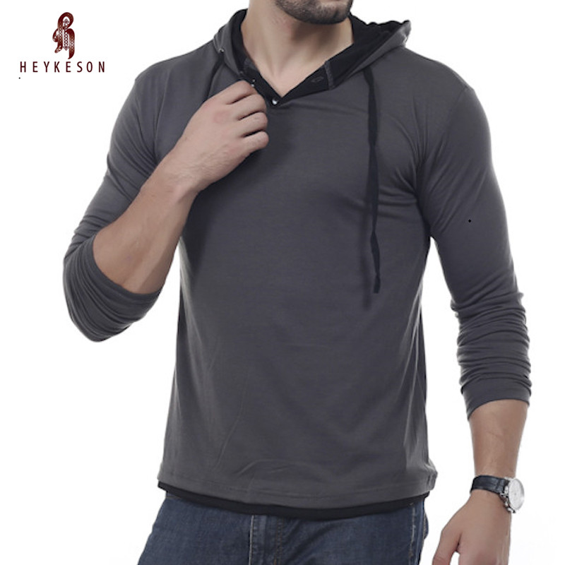 HEYKESON T Shirt Men Brand 2018 MenS Hooded Stitching Design Tops & Tees T Shirt Men Long Sleeve Slim Male Tops XXXL OOIS ...