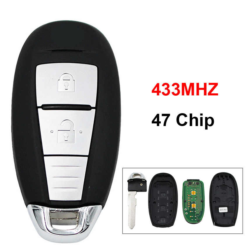 2 Button OEM Remote Car Key Smart Card Key Fob 433MHZ with 47 Chip Uncut  Blade for Suzuki Swift SX4 Vitara