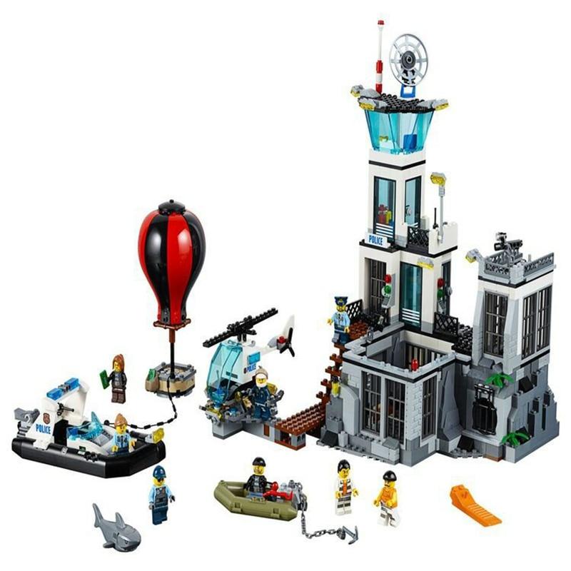 815Pcs Genuine City Series The Prison Island Building Blocks Bricks Educational figure kids Toys For boys