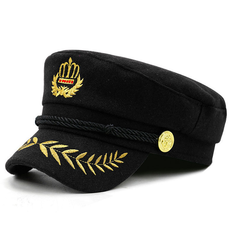 Fashion Embroidered Crown Women Rope Flat Cap Elegant Solid Beret Hat  Female 2018 New Casual Visor Military Hat -in Military Hats from Apparel  Accessories ... 75d622f7bf39