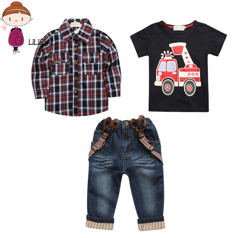 Autumn Baby Jacket Sport Clothes Sets Boy Suit Solid Cotton Long Sleeves Plaid Shirts+Car T-shirt+Jeans 3 Pcs Children Set SuiT 2pcs children outfit clothes kids baby girl off shoulder cotton ruffled sleeve tops striped t shirt blue denim jeans sunsuit set