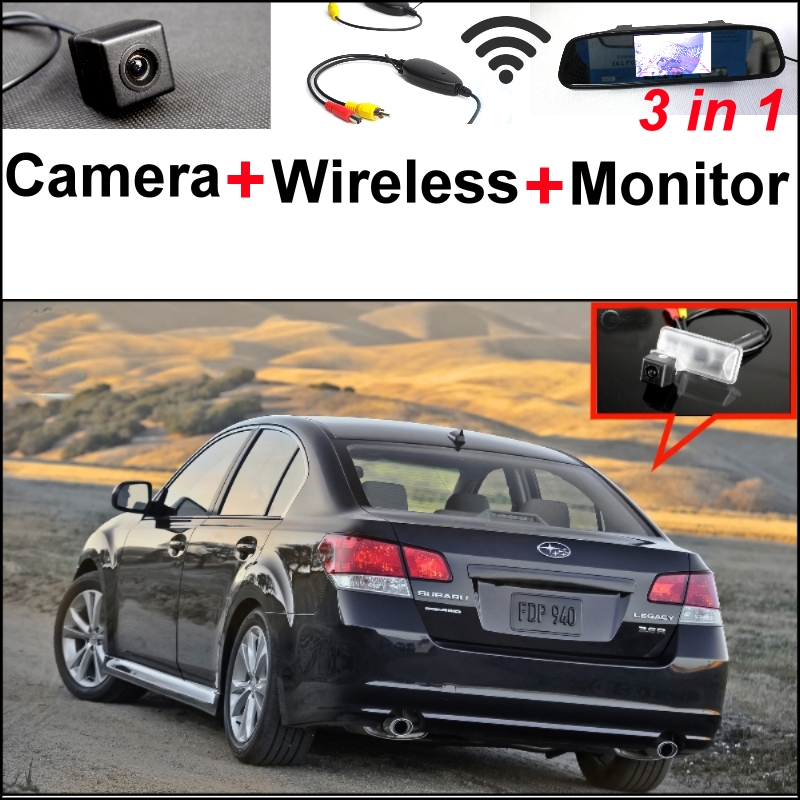 3 in1 Special Rear View Camera + Wireless Receiver + Mirror Monitor Back Up Parking System For Subaru Legacy B4 MK5 Liberty wireless pager system 433 92mhz wireless restaurant table buzzer with monitor and watch receiver 3 display 42 call button