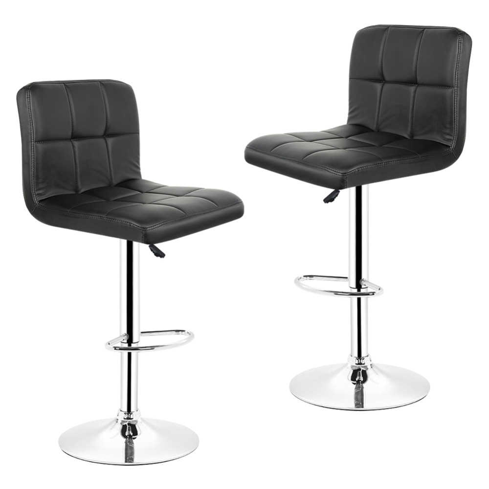 2pcs/set Black Red PU Leather Swivel Bar Stools Chairs Height Adjustable Counter Pub Chair Bar Furniture HWC