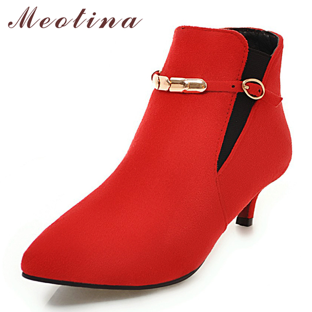 Meotina Women Ankle Boots Winter Mid Heel Boots Fashion Pointed Toe Buckle Short Boots Red Female Footwear Autumn Big Size 44 46