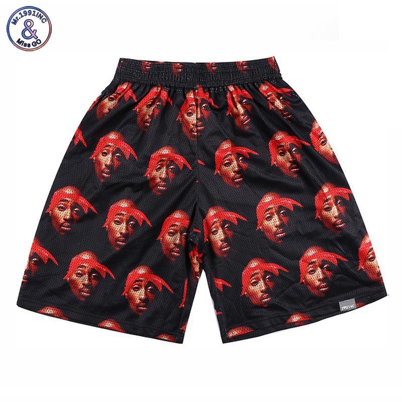 2017 Mr.1991INC Hip Hop shorts men 3d print Rap singer 2PAC Tupac 3d shorts mesh breathable short pants White/Black/Red