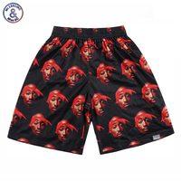2017 Mr.1991INC Hiphop shorts mannen 3d print Rap zanger 2PAC Tupac 3d shorts mesh ademend korte broek Wit/zwart/Rood