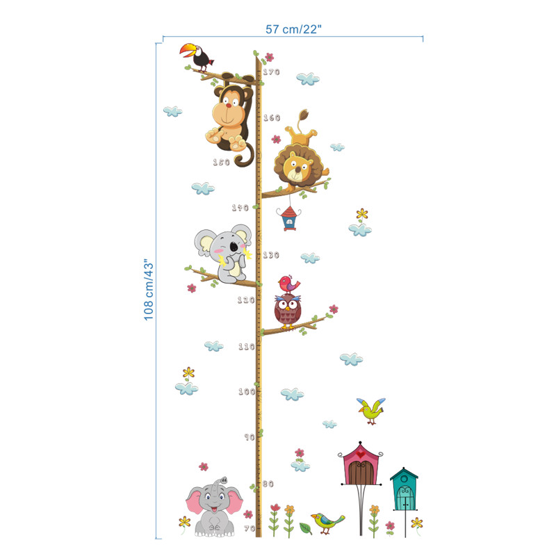 % Jungle Animals Lion Monkey Owl Height Measure Wall Sticker For Kids Rooms Growth Chart Nursery Room Decor Wall Decals Art