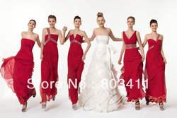 Freeshipping Горячие продажа Колонка Платье Умный Кристалл Красный Шифон Платья для Подружек Невесты