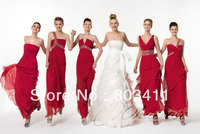 Freeshipping Hot sale Column Gown Smart Crystal Red Chiffon Bridesmaid Dresses