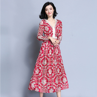 New fashion spring Sexy dress V-neck Hollow Out patchwork printing Pattern Dress Vestidos Dress two colors