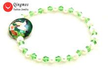 Женский браслет qingmos модный из натурального белого жемчуга