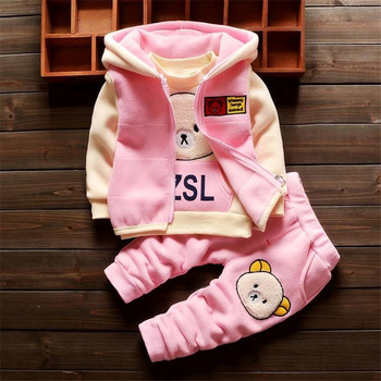 BibiCola fashion baby girls clothes winter warm cartoon bear 3pcs suit hoodies coat clothing set toddle boys cotton tracksuits