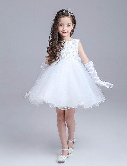 finest selection 6dfc3 efb38 US $39.88 |Ragazza top di pizzo prima comunione vestito, ragazza pageant  abito da sposa vestito convenzionale dalla ragazza grwy & white 2 14 anni  in ...