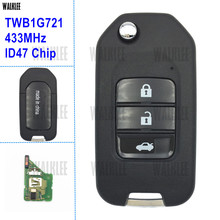 WALKLEE 3BT Remote Key Suit for Honda Civic Accord City CR-V Fit Jazz XR-V Vezel HR-V FRV 433MHz Car Keyless Entry TWB1G721