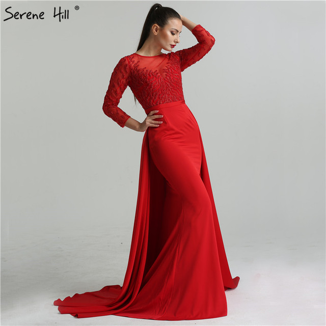 472a14cce83 2019 Red Black Beading Mermaid Evening Dresses With Attachable Train Long  Sleeves Fashion Elegant Sexy Evening