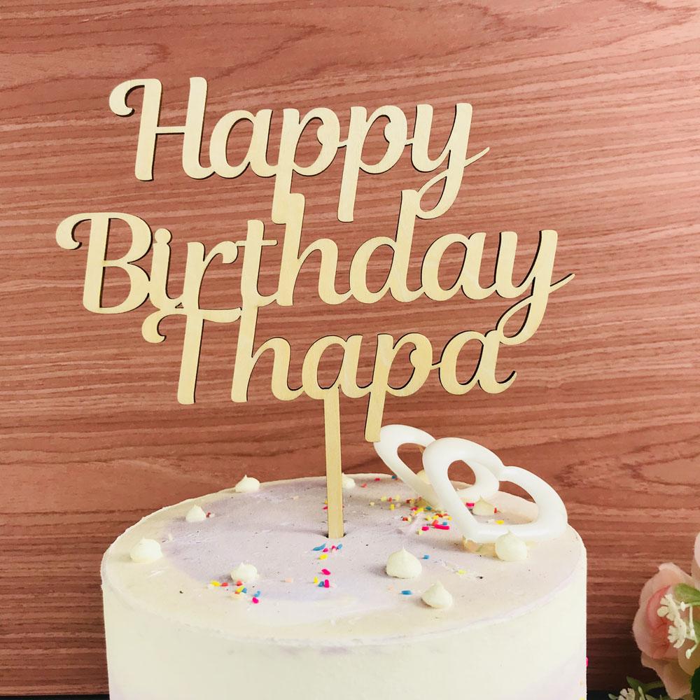 Personalized Name Happy Birthday Cake Topper Birthday Party Cake Topper Decor Supplies Custom Cake Topper As Birthday Gift Cake Decorating Supplies Aliexpress