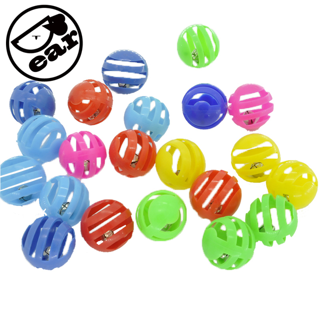 20pcs/lot Plastic Pet Cat Toys With Small Bell Diameter 3.5cm Colorful Ball Toy