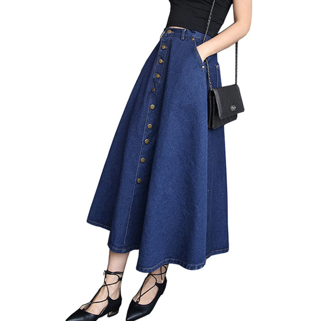 discount for whole family best online US $5.03 29% OFF|Fashion Single breasted Denim Skirt Women Autumn Sexy  Falda Vaquera Mid calf Skirts Vintage High Waist Long Skirt Saias  Feminino-in ...