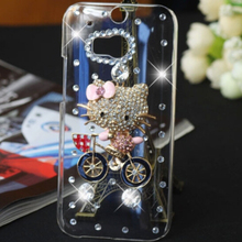 New 3D Cute KT Handmade Rhinestone Crystal diamond bling cell phone cover skin Mobile phone cases for HTC M8 case  case