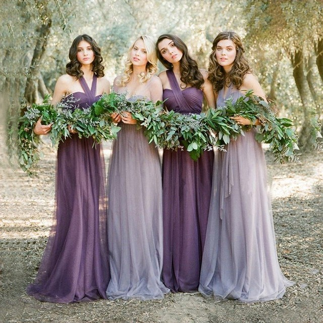 Hot 4 Style Bridesmaid Dresses Lavender Purple Lilac Floor Length Long Dress Tulle Maid Of Honor Wedding Party Dresses