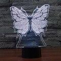 Creativa 7 Colores Increíble de la Ilusión Óptica de La Mariposa LED Lámpara Escultura de Arte Producto Único de Iluminación Luz de La Noche de Visualización 3D