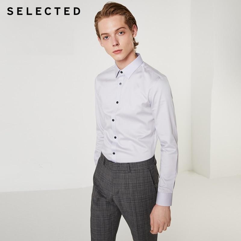 Wybrane męska Stretch Pure Color Slim Fit koszula z długimi rękawami T  419305547 w Koszule nieformalne od Odzież męska na  Grupa 1